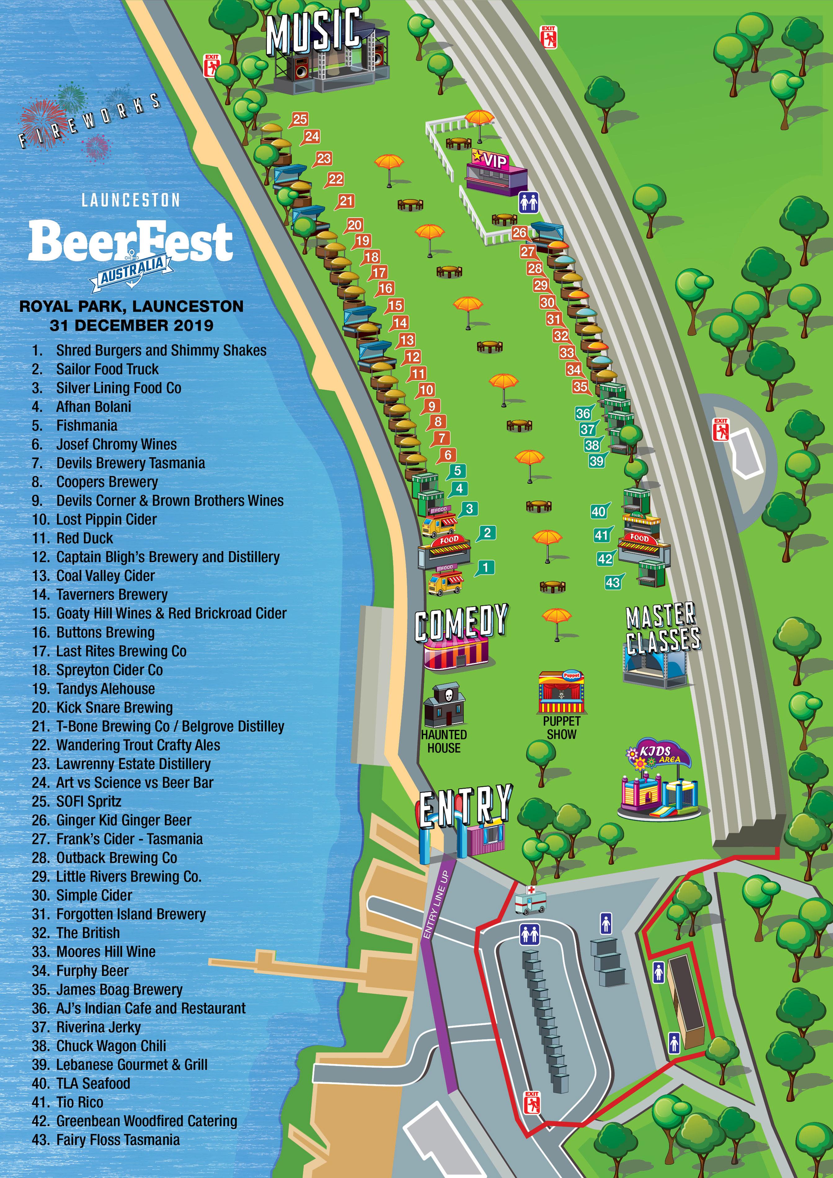 Launceston BeerFest 2019 Festival Map