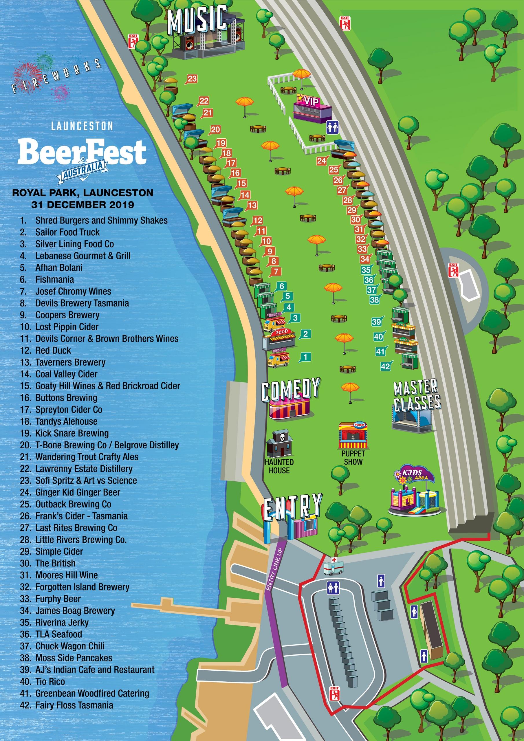 Festival Map for Launceston BeerFest