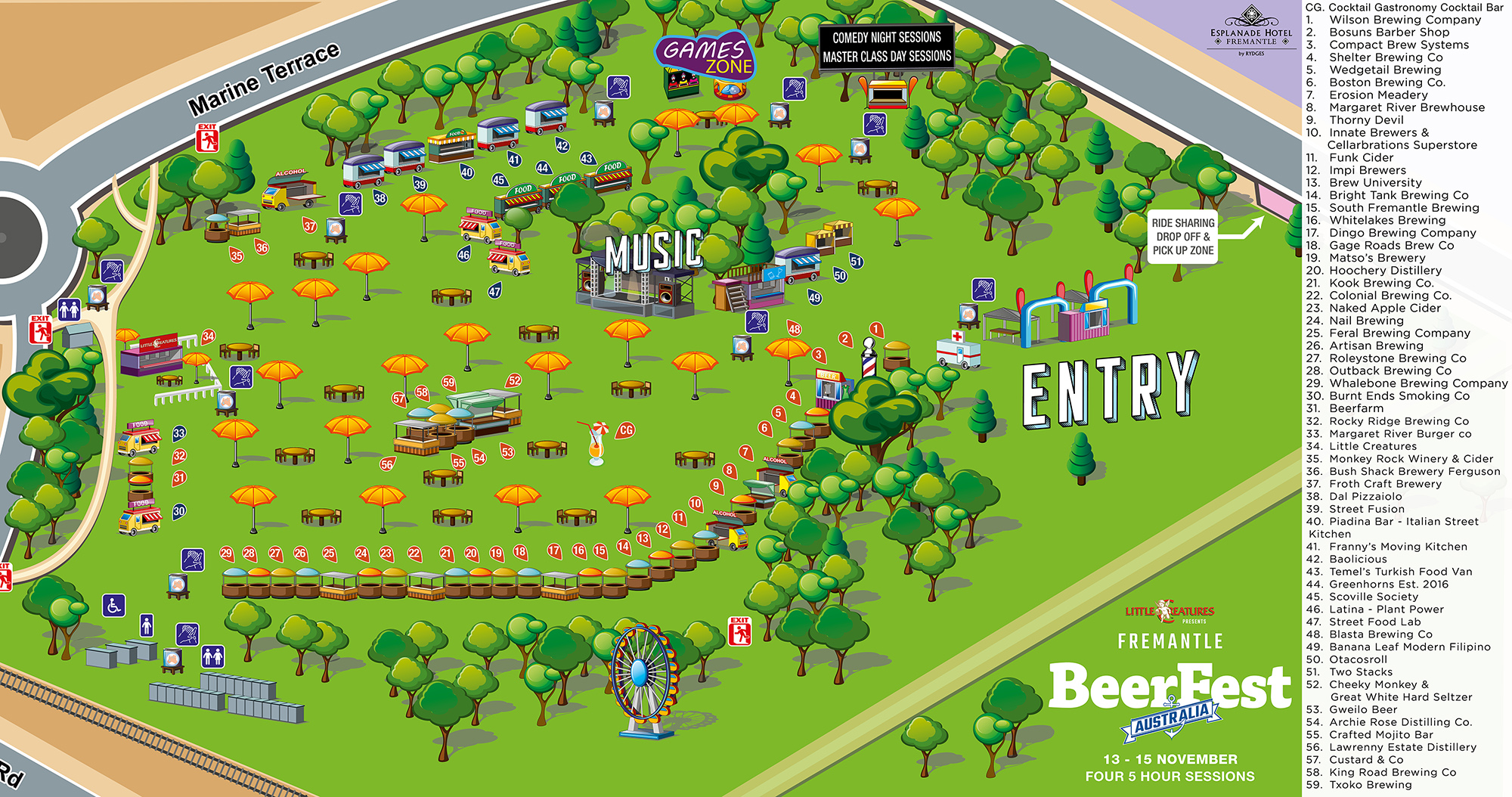 Festival Map for Fremantle BeerFest 2020