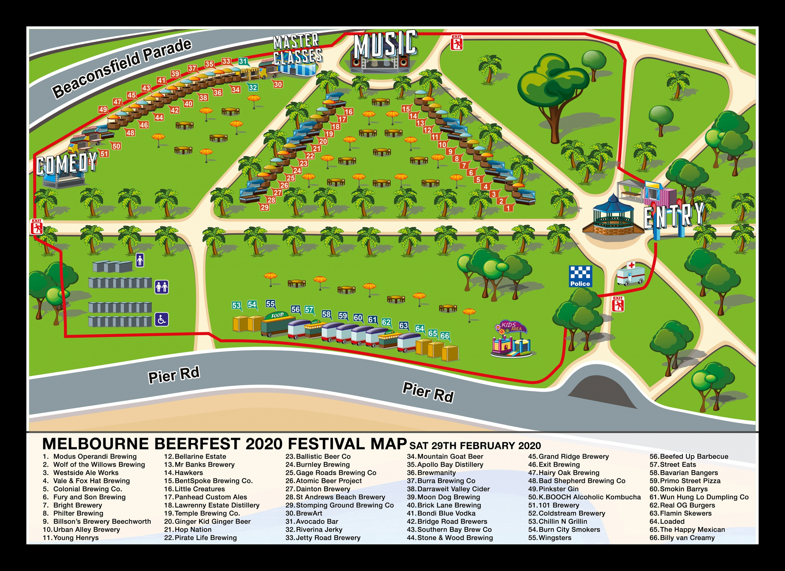 Festival map for Melbourne BeerFest 2020