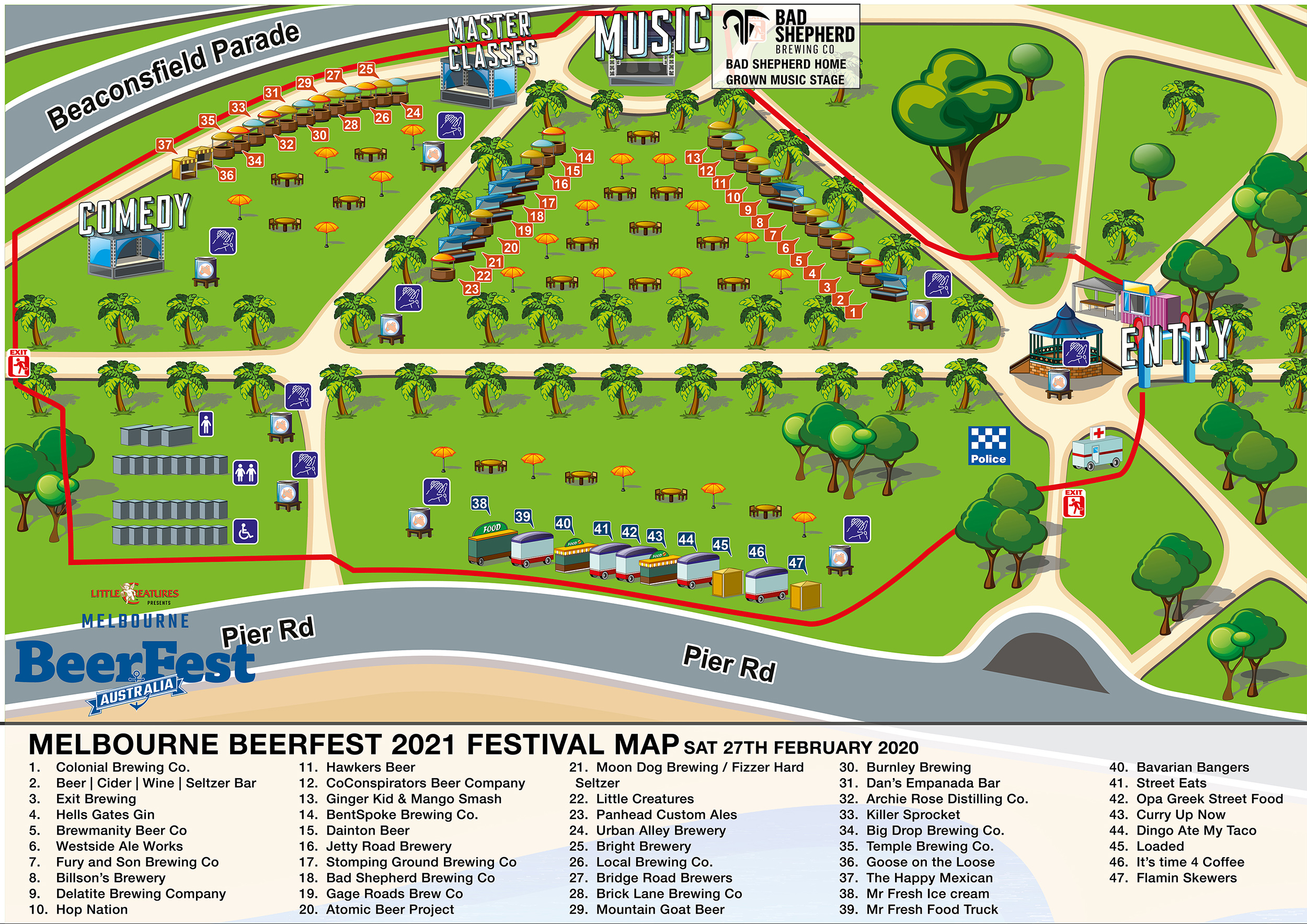 Melbourne BeerFest 2021 Festival Map