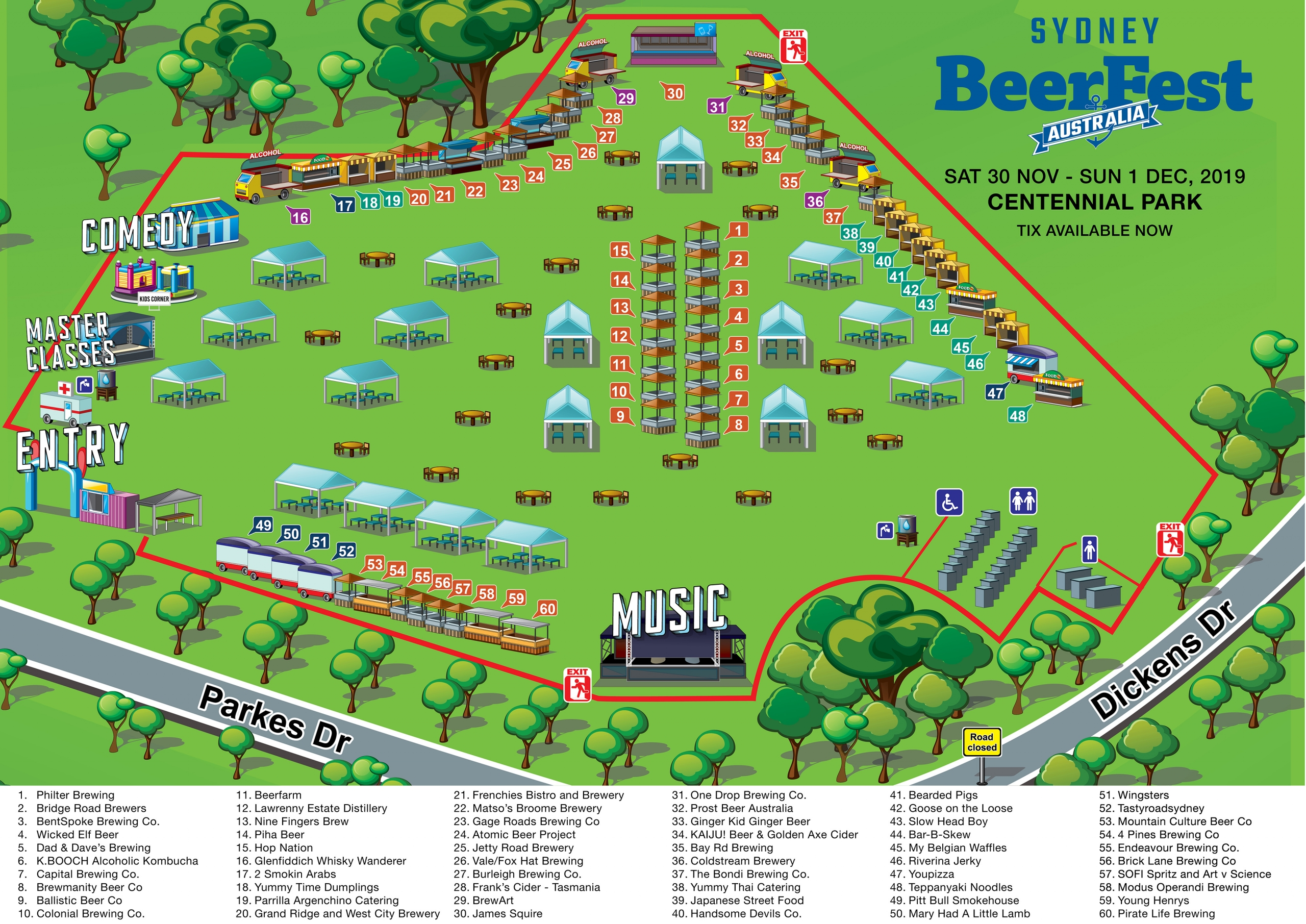 Festival map for Sydney BeerFest 2019