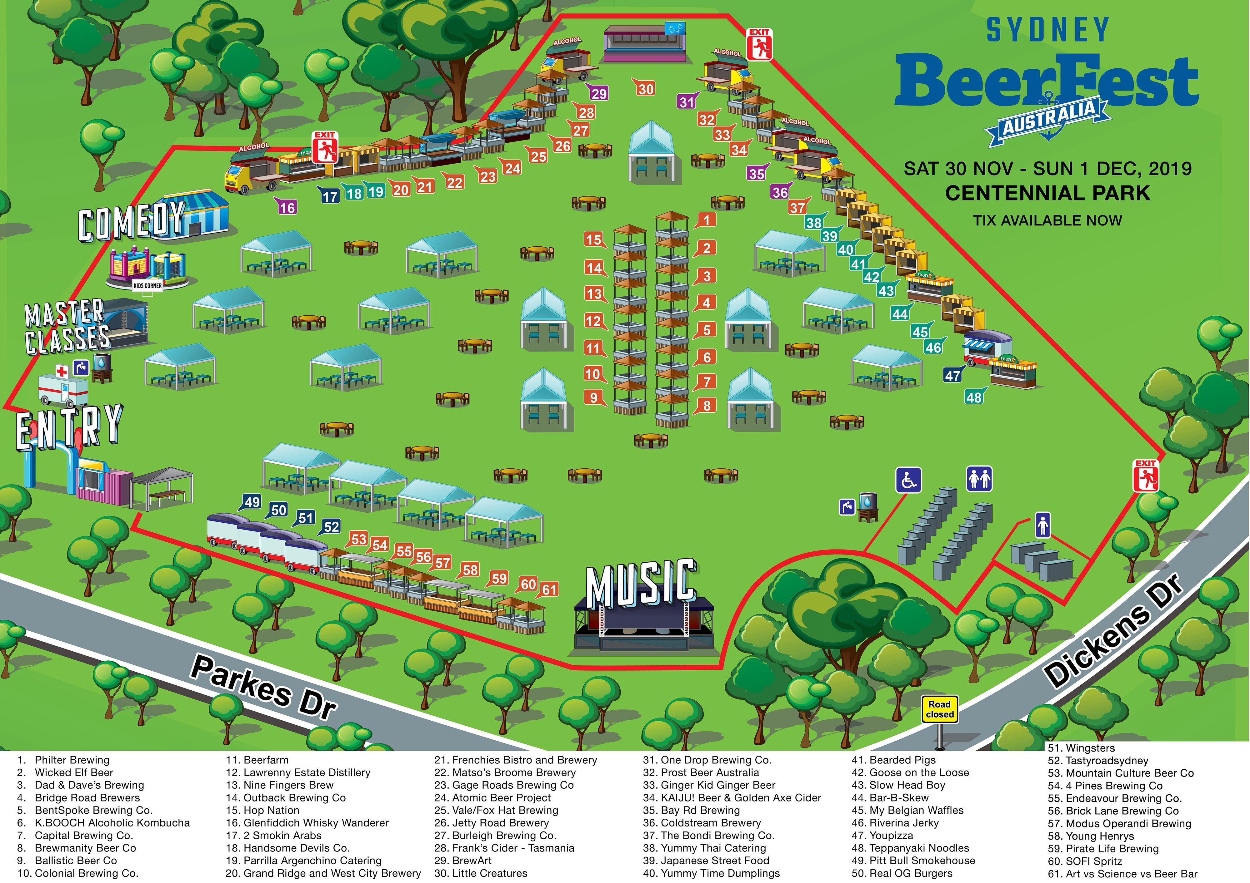 Festival map for Sydney BeerFest 2019